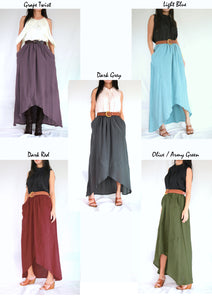 Women High Low Summer Cotton Maxi Skirt with Pockets