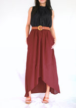 Load image into Gallery viewer, Women High Low Summer Red Cotton Maxi Skirt