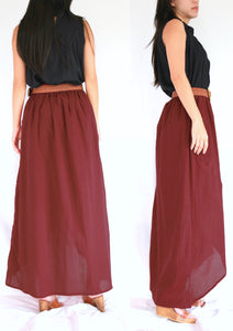 Women High Low Summer Red Cotton Maxi Skirt