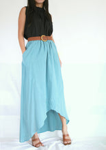 Load image into Gallery viewer, Women High Low Summer Cotton Maxi Skirt in Light Blue