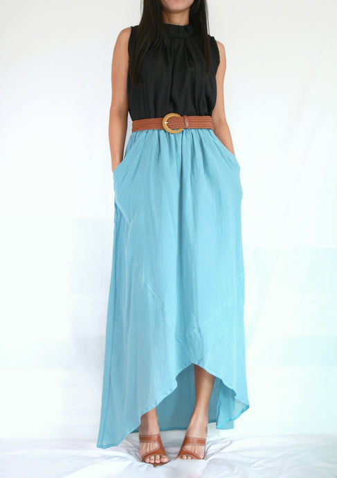 Women High Low Summer Cotton Maxi Skirt in Light Blue