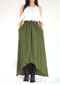 Women Olive Army Green High Low Cotton Maxi Skirt