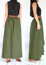 Load image into Gallery viewer, Women Olive Army Green High Low Cotton Maxi Skirt