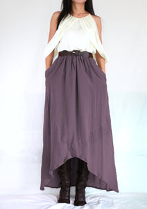 Purple High Low Summer Cotton Maxi Skirt with Pockets