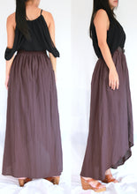 Load image into Gallery viewer, Purple High Low Summer Cotton Maxi Skirt with Pockets