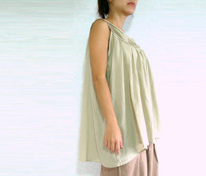 Women Sleeveless Beige Cotton Blouse
