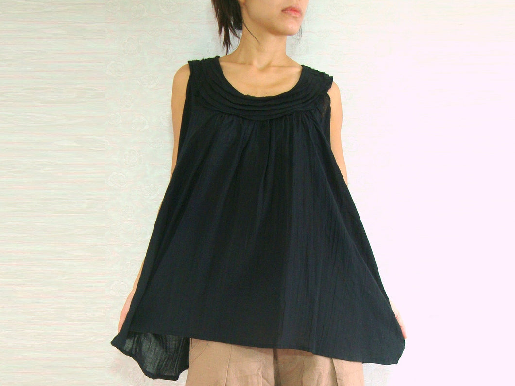 Summer Sleeveless Cotton Blouse in Black Tops