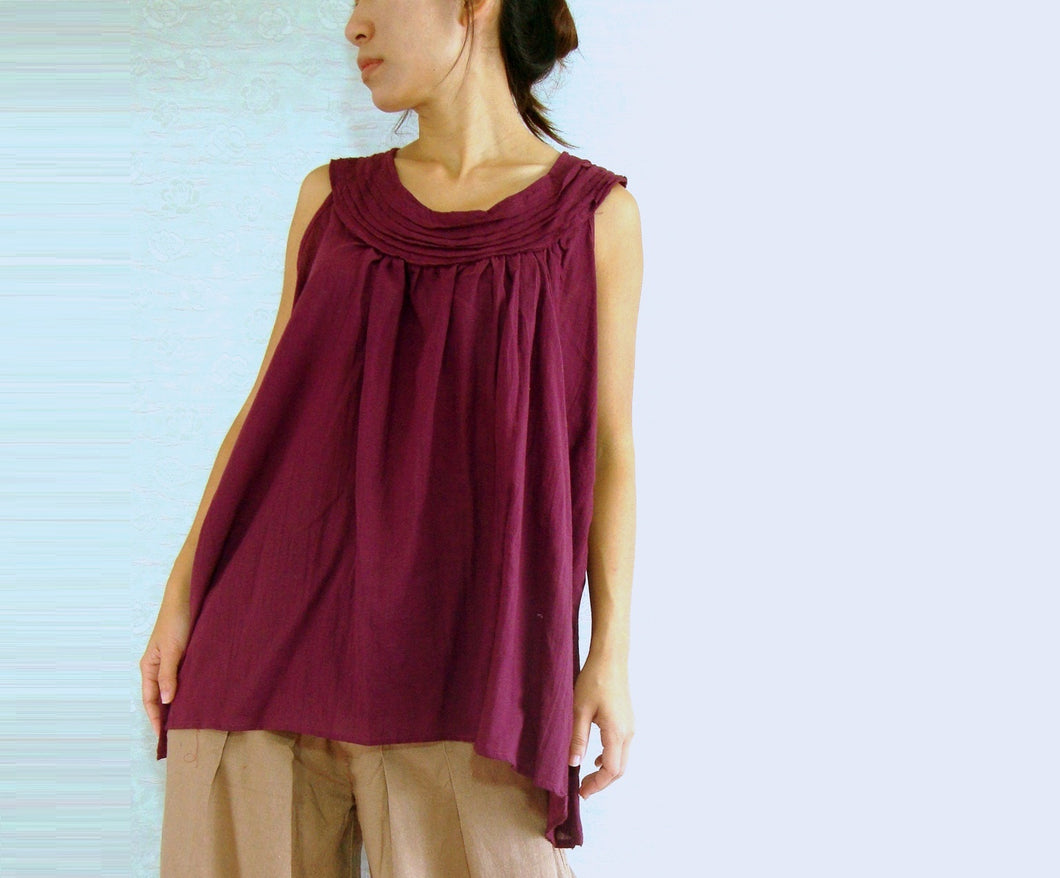 Burgundy Cotton Blouse Maternity Summer Tops
