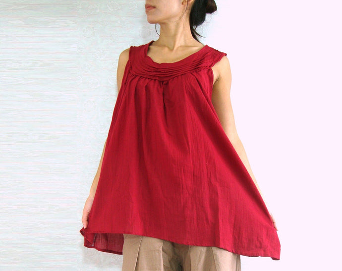 Sleeveless cotton blouse maternity tops in red