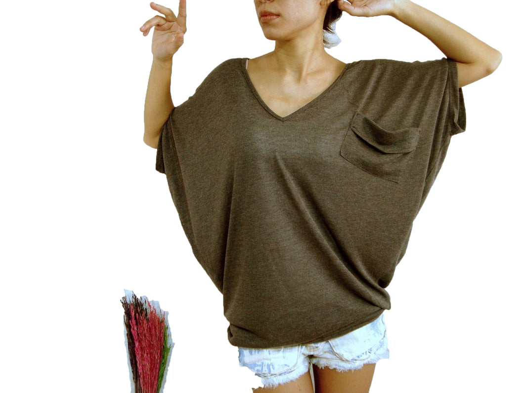 Brown Dolman Oversized Women Tee with pocket