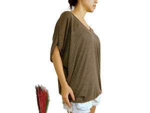 Brown Dolman Oversized Women Tops