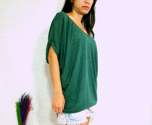 Loose Green V-neck Oversized Tops