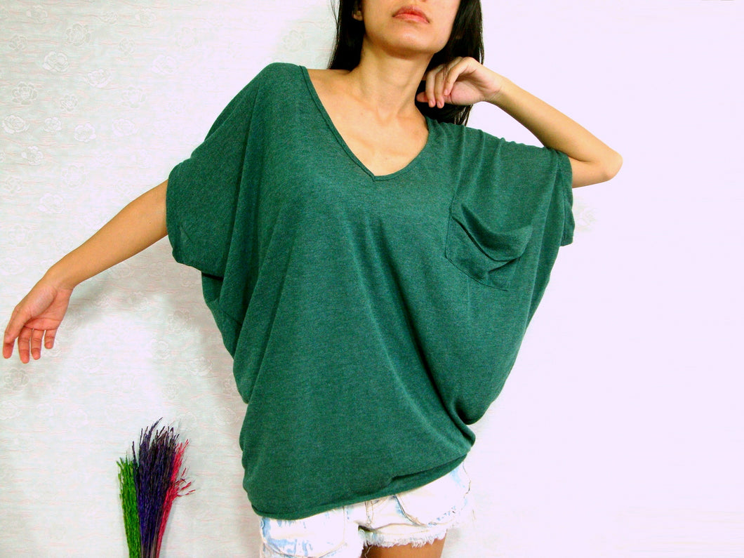 Women dark Green Oversized Tops with pocket