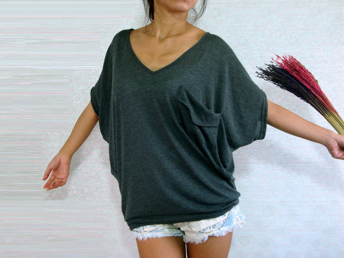 Women Gray V Neck Oversized Top with pocket
