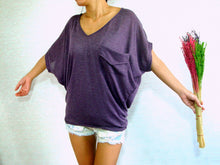 Load image into Gallery viewer, Women V-neck Purple Oversized Tops with pocket