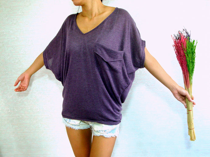 Women V-neck Purple Oversized Tops with pocket