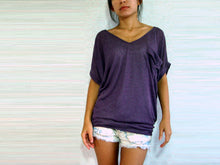 Load image into Gallery viewer, Women V-neck Purple Tops with pocket