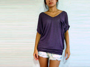 Women V-neck Purple Tops with pocket