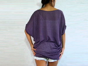 Purple V-neck Dolman Sleeves Oversized Tops