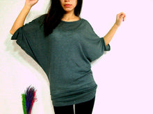 Load image into Gallery viewer, women gray ruched top dolman sleeves