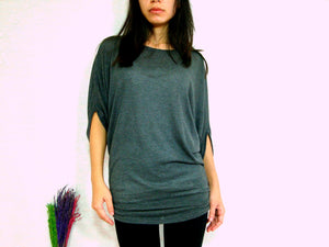 women gray ruched top dolman sleeves
