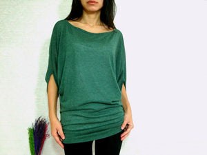 Women Ruched Top in Green