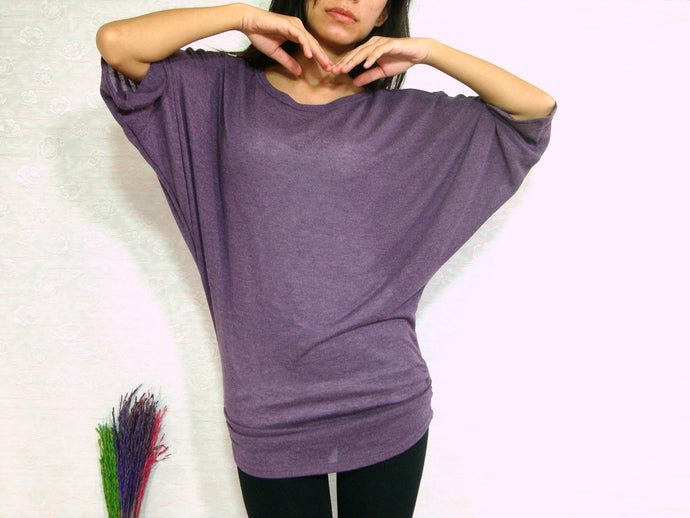 oversized purple ruched top dolman sleeves