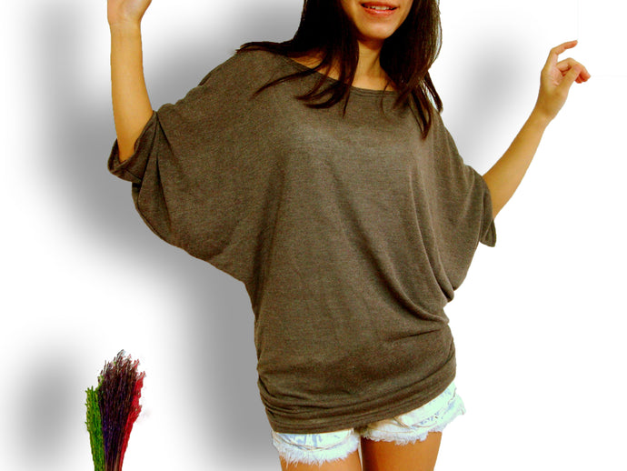 Women brown oversized poncho dolman sleeves tee ruched top
