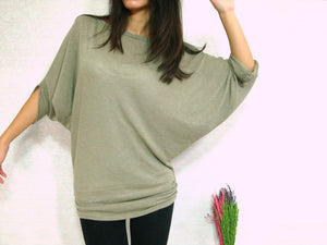 Women Sage Green Dolman Sleeves Ruched Top
