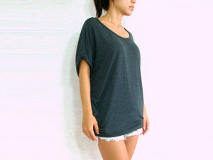 Women Gray Baggy T Shirt Scoop Neck Oversized Top