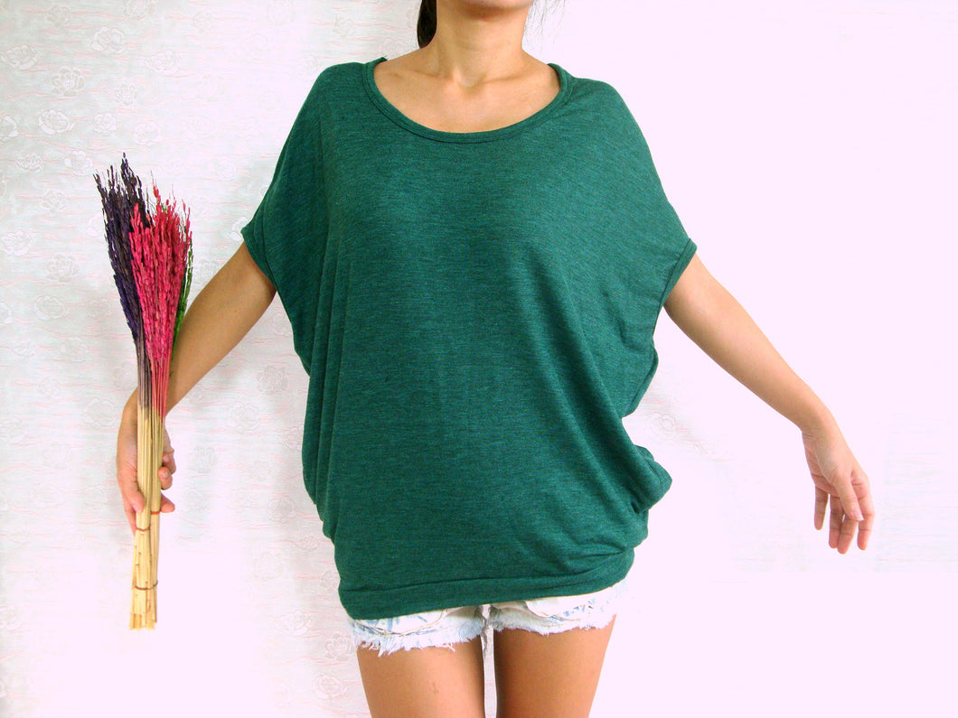 Dark Green Scoop Neck T-Shirt Oversized Top with Pockets