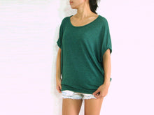 Load image into Gallery viewer, Green T-Shirt Scoop Neck Oversized Top with Pockets