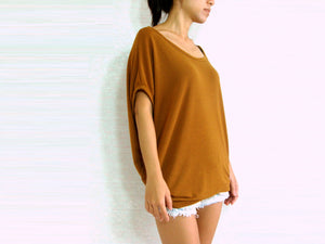 Mustard Tops Baggy T Shirt Scoop Neck with Pockets