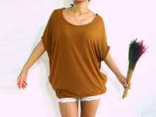Load image into Gallery viewer, Mustard Tops Baggy T Shirt Scoop Neck with Pockets