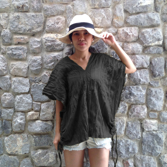 Black women oversized top v-neck summer blouse
