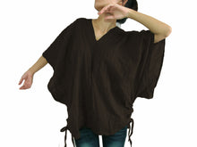 Load image into Gallery viewer, Brown Bohemian Boho Oversized Top Large Cotton Blouse