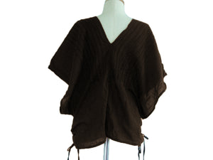 Brown Bohemian Boho Oversized Top Large Cotton Blouse