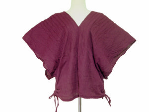 Burgundy Deep V-neck Oversized Blouse