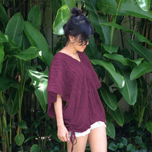 Load image into Gallery viewer, Burgundy Deep V-neck Oversized Blouse