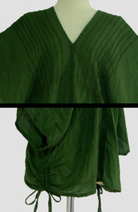 Women Oversized Blouse Forest Green V-Neck Tops