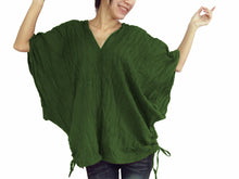 Load image into Gallery viewer, Women Oversized Blouse Dark Green Cotton Boho V-neck Top
