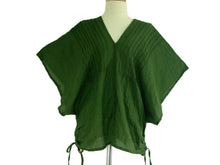 Load image into Gallery viewer, Women Oversized Blouse Forest Green V-Neck Tops