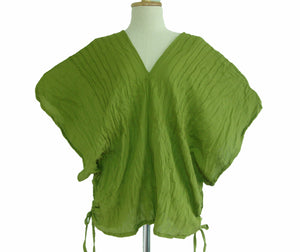 Deep V-neck Oversized Cotton Blouse in Apple Green