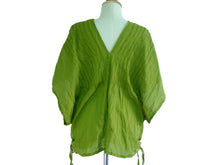 Load image into Gallery viewer, Deep V-neck Oversized Cotton Blouse in Apple Green