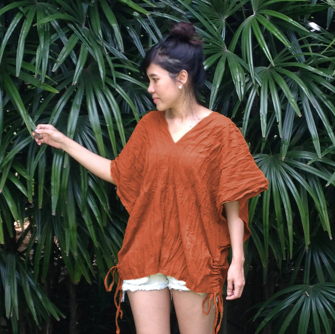 Orange Cotton Gauze Oversized Top Bohemian Boho Blouse