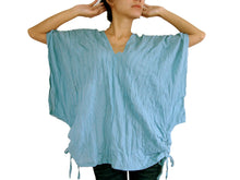 Load image into Gallery viewer, Light Blue Oversized Cotton Blouse Summer Top