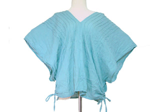 Light Blue Oversized Cotton Blouse Summer Top