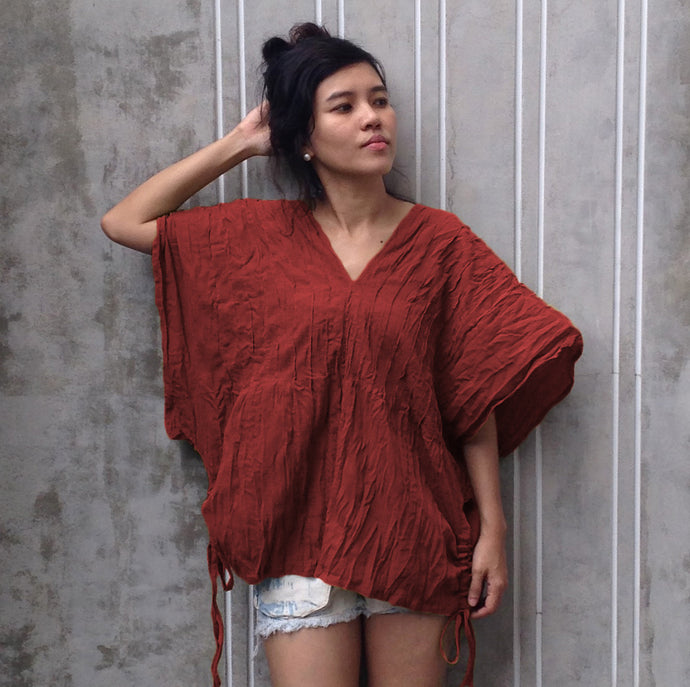 Women Red Tops Oversized Large Cotton Blouse
