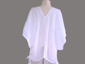 White Loose Cotton Blouse Bohemian Boho Top