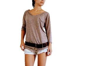 Women Brown Raglan Sleeves Top with Pocket